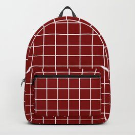 Maroon (HTML/CSS) - red color - White Lines Grid Pattern Backpack