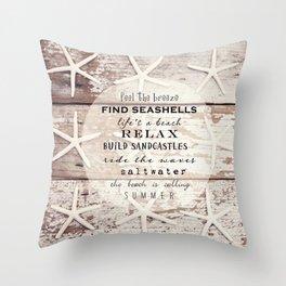 starfish on wood Throw Pillow