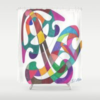 inspiration Shower Curtains featuring Inspiration by SaraLaMotheArt
