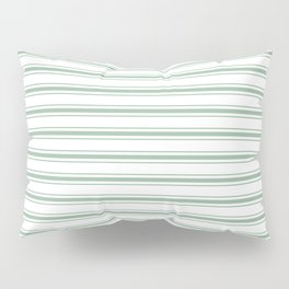 Moss Green and White Mattress Ticking Wide Striped Pattern Pillow Sham