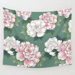 Japanese Vintage Pink Peonies Green Leaves Kimono Pattern Wall Tapestry
