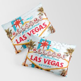 Classic view of Welcome to Fabulous Las Vegas sign on a beautiful sunny day with blue sky and clouds, Las Vegas, Nevada, USA Pillow Sham