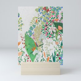 Painterly Floral Jungle on Pink and White Mini Art Print