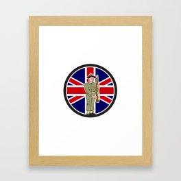British World War II Soldier Union Jack Flag Cartoon Framed Art Print
