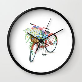 Vintage Red Bicycle with Flowers Wall Clock