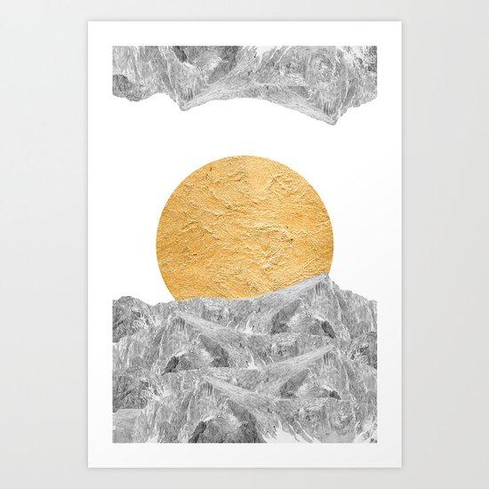 Modern Abstract - Sun and Mountains Art Print