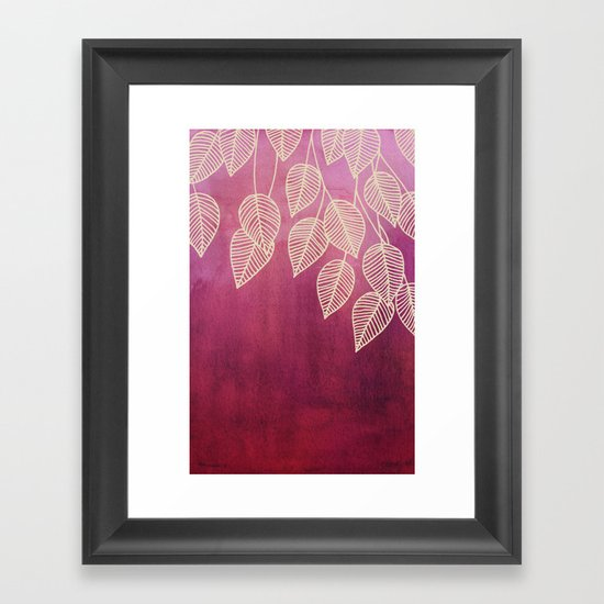 Magenta Garden - watercolor & ink leaves Framed Art Print
