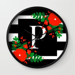 P - Monogram Black and White with Red Flowers Wall Clock