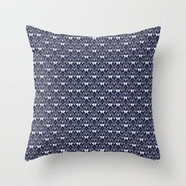 Butterfly Illustration // Geometric Butterfly Pattern // Dark Navy Blue and White Throw Pillow