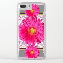 Fuchsia Gerbera & Shasta Daisy  Pink-Grey Pattern Art Clear iPhone Case