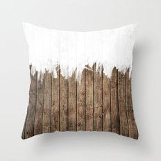 White Abstract Paint on Brown Rustic Striped Wood Throw Pillow