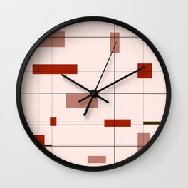 Mid Mod Grid in Red Wall Clock