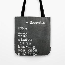 Socrates quote Tote Bag