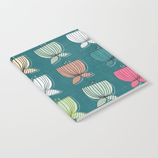 flower cups teal Notebook