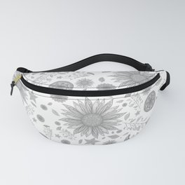 Beautiful Flowers in Faded Gray Black and White Vintage Floral Design Fanny Pack