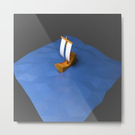 Low poly boat ship sea beach blue Metal Print