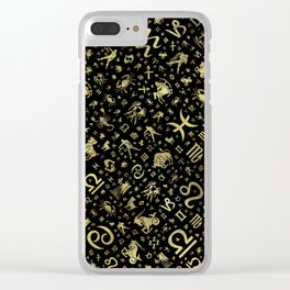 Zodiac symbols and glyphs Gold on black Clear iPhone Case