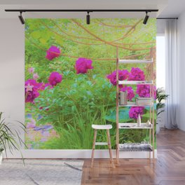 Impressionistic Purple Peonies with Green Hostas Wall Mural