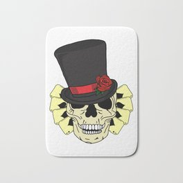 Magician Skeleton Skull in Top Hat and Deck of Cards Bath Mat