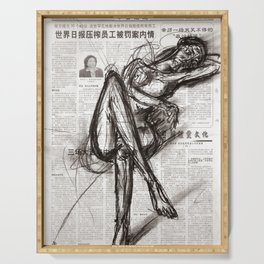 Brave - Charcoal on Newspaper Figure Drawing Serving Tray