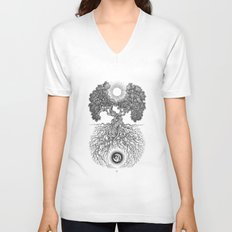 Tree of day and night Unisex V-Neck