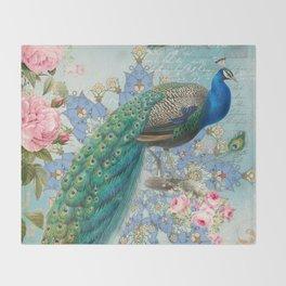 Peacock & Pink Roses #2 Throw Blanket