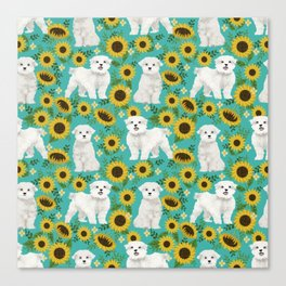 Maltese dog breed floral sunflower summer pattern dog gifts pet friendly dogs Canvas Print