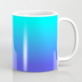 Neon Blue and Bright Neon Aqua Ombré Shade Color Fade Coffee Mug