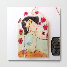 The Wallflower  - Tea Bag Art Metal Print