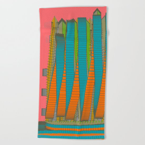 Fabulous Lights on Boulevard Glass Buildings Beach Towel
