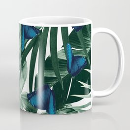 Tropical Butterfly Jungle Leaves Pattern #1 #tropical #decor #art #society6 Coffee Mug