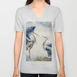Great Blue Heron Couple Unisex V-Neck