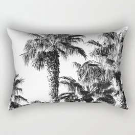 {2 of 2} Classic Palm Leaf Sky // Summer Black and White Palmtree Art Print Rectangular Pillow