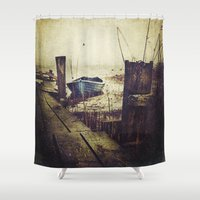 rowing Shower Curtains featuring Rugged fisherman by HappyMelvin