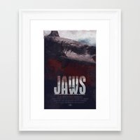 jaws Framed Art Prints featuring Jaws by Duke Dastardly