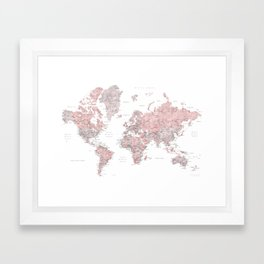 Dusty pink and grey detailed watercolor world map Framed Art Print