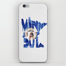 Minnesota Typographic Flag Map Art iPhone Skin