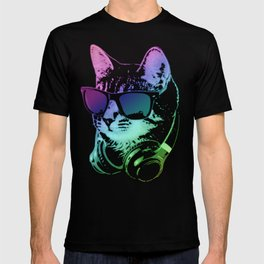 Dj Cat In Neon Lights T-shirt