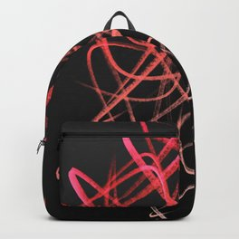 Salmon Pink Wavy Lines on Black Backpack