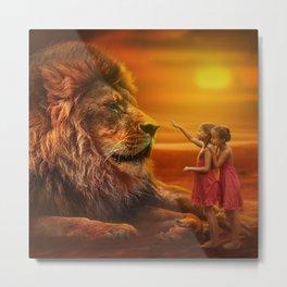 Lion twins | Lion et jumelles Metal Print