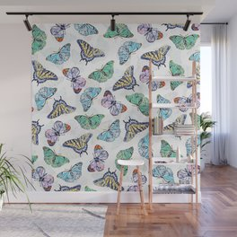 Colorful Butterflies Watercolor Painting Wall Mural