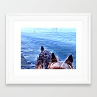 yorkie Framed Art Prints featuring Pacific Yorkie by Le Coup de Foudre