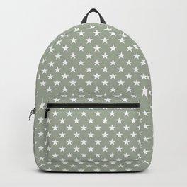 Bright White Stars on Desert Sage Grey Green Backpack