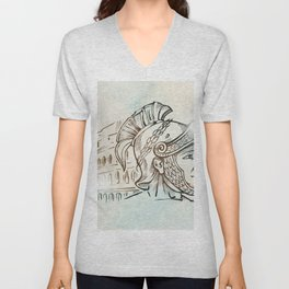 roman warrior on colosseum background Unisex V-Neck