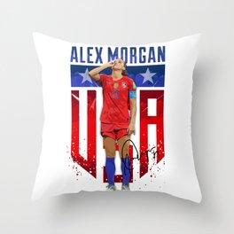 Alex Morgan Sipping Tea Throw Pillow