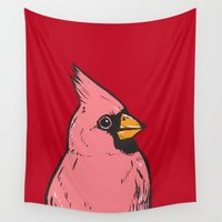 cardinal Wall Tapestries featuring Cardinal by turddemon
