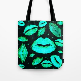 Kisses All Over (Green) Tote Bag