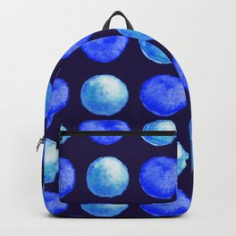 Winter Blue Watercolor Large Dots Pattern Backpack