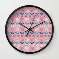 tulips Wall Clocks featuring Tulips by Valendji