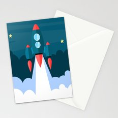 Stars Spaceship Stationery Cards